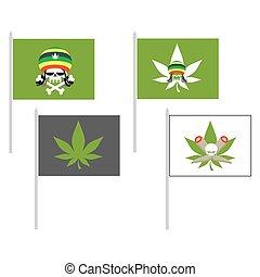 Smoking drugs flag. Rasta Hat skull. Cannabis leaf. Vector illustration