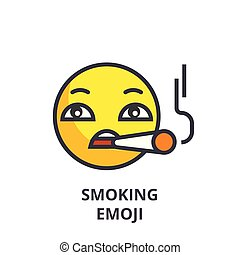 smoking emoji vector line icon, sign, illustration on background, editable strokes