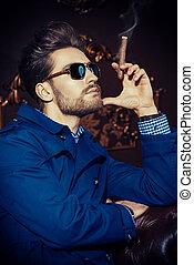 smoking fashion man