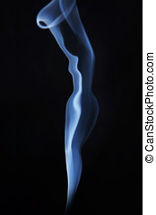 Smoking female image made of fume