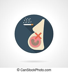 Smoking for pregnancy round flat color vector icon