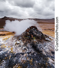 Smoking fumaroles on Hverarond valley, north Iceland, Europe. Landscape photography