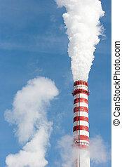 Smoking gas power plant stack closeup