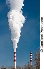 Smoking gas power plant stacks