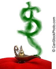 Smoking Genie Lamp - A magical genie lamp with smoke on a...