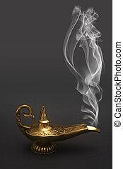 Smoking Genie Lamp - A magical genie lamp with smoke.