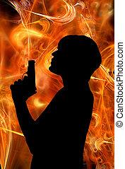 smoking gun and woman