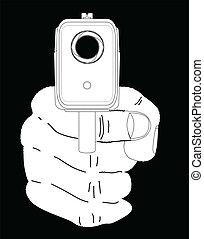Smoking Gun - Looking down the barrel of a smoking hand gun.