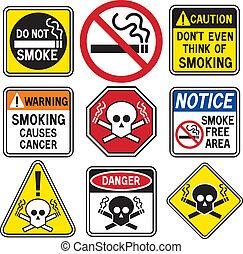 Smoking Hazard Signs - A collection of nine No Smoking signs...