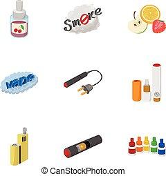 Smoking icons set, cartoon style