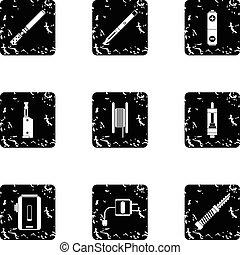 Smoking icons set, grunge style