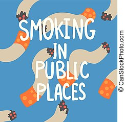 Smoking in public places, cigarette addiction, struggle with unhealthy addiction social proplem concept poster banner template vector Illustration
