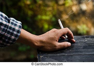 Smoking in the hands of men