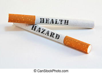 Smoking is a health hazard - Two cigarettes with health ...