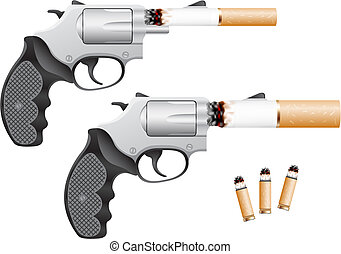 Smoking is death - Revolver with a cigarette barrel isolated...