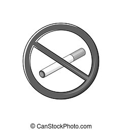 Smoking is prohibited icon, black monochrome style