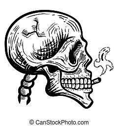smoking., isolated., ベクトル, モノクローム, イラスト, 頭骨, 幻影, smoke., -