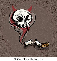 Smoking kill concept smoke evil from breaking cigarette stub