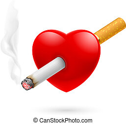 Smoking kill heart - Smoking kill. Illustration of red heart...