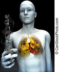 Smoking kills concept ,Male smoking with view of rotting...