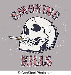 smoking kills - Smoking kills. Skull with a cigarette on a...