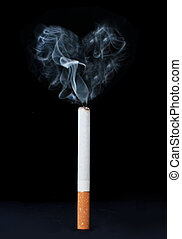 Smoking kills - Smoke in the shape of a heart emerging from...