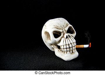 Smoking Kills - Human skull smoking a lit cigarette.