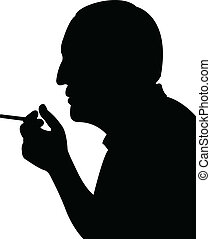 smoking man silhouette vector