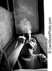 smoking man - gray day