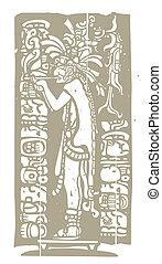 Smoking Mayan Priest Woodblock - Mayan god in Jaguar skin ...