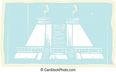 Smoking Mayan Pyramid Codex - Mayan Pyramid designed after...
