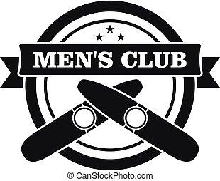 Smoking men club logo, simple style