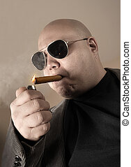 Smoking mobster - The Mobster, Boss, Head Honcho, Top Dog......