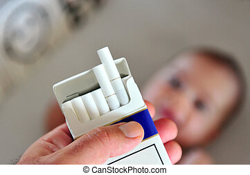 Smoking near children, babies and kids. Concept photo