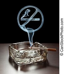 "Smoking not allowed - ""No smoking"" smoke sign rising from a ..."