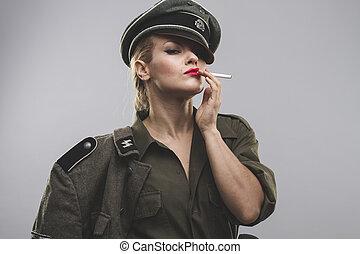 smoking, Official German woman, representation of tyranny...