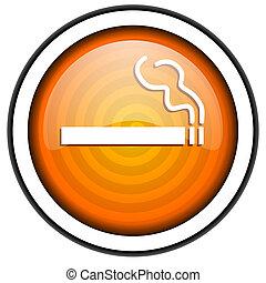 smoking orange glossy icon isolated on white background