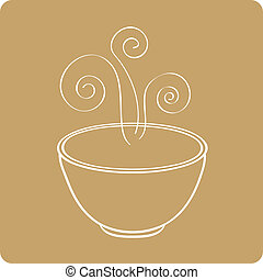 Smoking oriental soup bowl - Vector illustration of chinese...