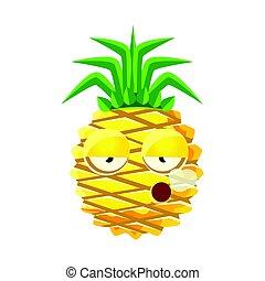 Smoking pineapple emoticon. Cute cartoon emoji character vector Illustration