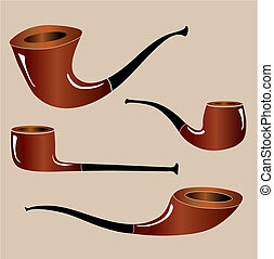 Smoking pipe - Four different shapes of smoking pipes