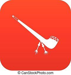 Smoking pipe icon digital red