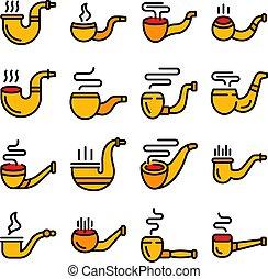 Smoking pipe icons set vector flat