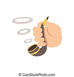Smoking Pipe in Human Hand Colorful Cartoon Poster