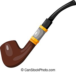 Smoking pipe in the style of a cartoon on a white background. Vector illustration