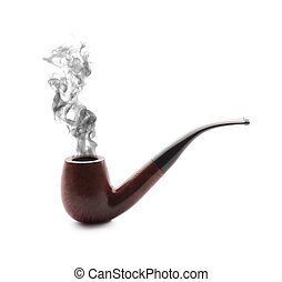 Smoking pipe with smoke on white background