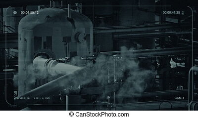 Smoking Pipes At Industrial Facility - CCTV view of large...