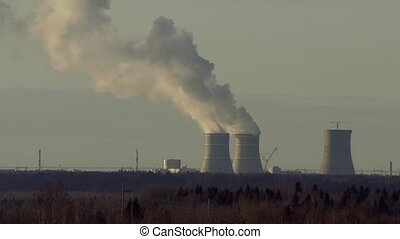 smoking pipes of a thermal power plant timelapse video.