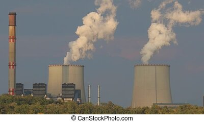 Smoking power plant cooling towers