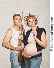 Smoking Pregnant Female Hillbilly