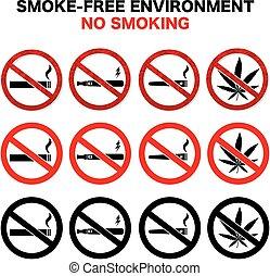smoking prohibited sign symbols vector set